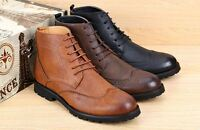 NEW MENS FASHION HIGH ANKLE BOOTS LACE UP OXFORDS WING TIP BROGUE DRESS SHOES