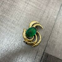 Authentic Vintage gold tone Green Glass Faceted Stones Brooch