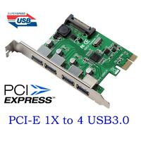 4 USB 3.0 Port SuperSpeed PCI Express Controller Card Adapter 15-pin SATA Power