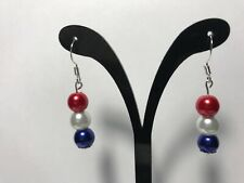 Red White Blue Earrings Pearl Dangle 6 mm Bead Women  Patriotic  Gift US Auction