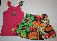 New Carter's 2T Girls 2 Piece Outfit Set Cute Monkey Hawaii Tropical Top & Skort