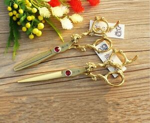 """6""""Professional Hairdressing Cutting Thinning Scissors Shears Barber Gold Set"""