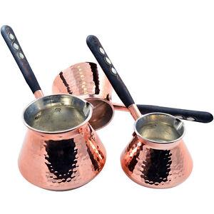 SET 3 THICKEST Copper Turkish Greek Stovetop Coffee Pot Maker Cezve Ibrik Briki