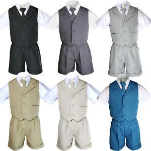 New Baby Toddler Boys 4pcs Tie Shorts Vest Suit set of Black Khaki Dark Gray