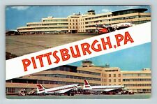 Pittsburgh PA, Airport, Airplanes, Control Tower Chrome Pennsylvania Postcard A5