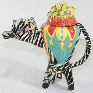 Signed Art Pottery Ugly Highly Decorated Brightly Colored Circus Zebra Teapot