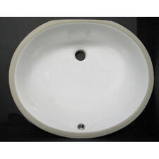 Set of 2 White Round Porcelain Under Mount Vanity Sinks