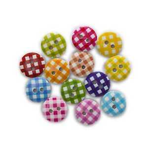 50pcs Lattice Printing Wood Buttons Sewing Scrapbooking Handwork Decor 11-18mm