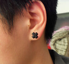 Cross Fake No Need Piercing Ear Holes MAGNETIC Black Rock Punk Party Earrings