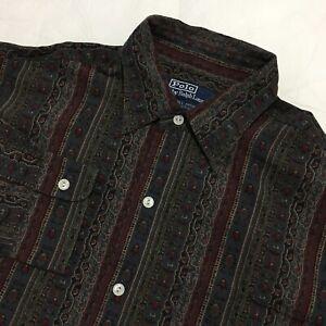 Ralph Lauren Long Sleeve Dress Shirt Lowell Sport SIlk Cotton Blend Size Medium