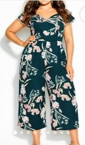 CITY CHIC Women's PLUS Size 18 Fresh Fields Jumpsuit**Lined*Off The Shoulder*NWT