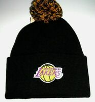 Los Angeles Lakers Black Knit Beanie with Pom Top NBA cuffed  New By Adidas