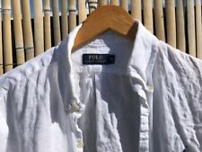 Men's Medium Ralph Lauren Slim Fit White Linen Shirt RRP £115