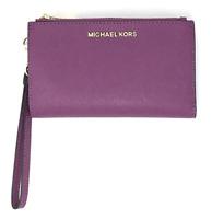 Michael Kors Jet Set Double Zip Wristlet Phone Wallet Pomegranate Purple