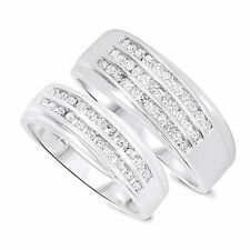 3/4 CT Diamond His And Hers WEDDING ENGAGEMENT RING BAND SET 10K White Gold