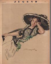 1920 Jugend April 23 German Art Nouveau Cover - Woman in hat by Leo Putz