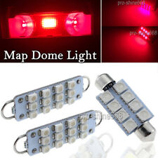 Red LED interior lights 2 Map 1 Dome for 1988-1998 Chevy Silverado GMC Sierra