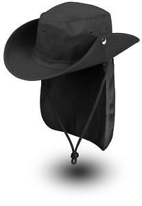 Buschhut mit UV Schutz Krempe Nackenschutz und Kordelzug Outdoor Angelhut