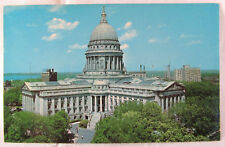 Postcard Madison Wisconsin State Capitol Building Elevated Aerial Lake Mendota