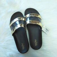 New MOSSIMO SUPPLY CO. Women's Black Gold Trystan Slide Sandals, Size 8