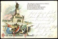 Gruß vom NIEDERWALD-DENKMAL Rüdesheim am Rhein - Farblitho gel. 1898