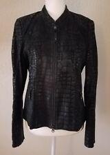 Luisa Cerano Women's 100% Lambskin Embossed Alligator Leather Black Jacket 10
