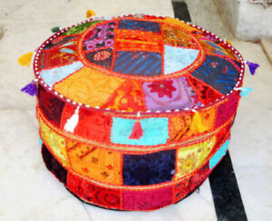 Handmade Patchwork Round Foot Stool Indian Cotton Vintage Ottoman Pouf Cover New