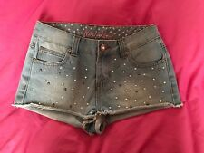 Vintage  Style Denim Shorts Studded Sequined