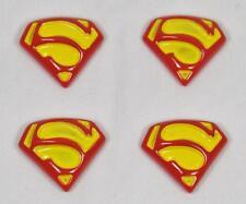 BB FLATBACKS SUPERMAN SYMBOL pk of 4 cabochons yellow red  resin super hero