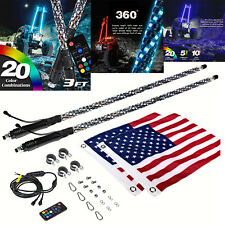 Pair 3ft Rgb Spiral Led Whip Lights Antenna Chase + Flag & Remote for Atv Utv