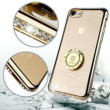 Women's iPhone 7 Bling Diamond Case Grip Ring Kickstand Rhinestone Bumper Gold