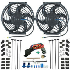 """TWIN 10"""" INCH ELECTRIC RADIATOR COOLING FANS PUSH-IN FIN PROBE THERMOSTAT SWITCH"""