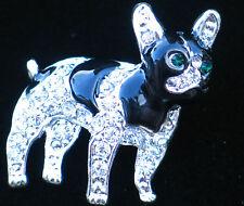 BLACK SILVER BOSTON TERRIER FRENCH BULLDOG PUPPY DOG PIN BROOCH JEWELRY 1 1/4