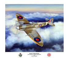 WWII MILITARY AVIATION ART PRINT SPITFIRE