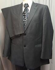 Alfani Men's 100% Wool Suit Sport Coat Gray Jacket 46R Flat Front Pants 40R EUC