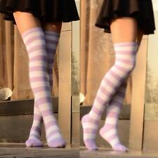 Sexy Women Girls Thigh High Striped Over the Knee Cotton Long Socks Purple+White