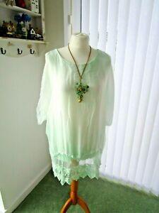 Fashion Moda  MadeinItaly silk lace top lagenlook  lined white/light mint M/UK12