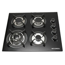 "Metawell 23.6"" Black Tempered Glass Panel Gas Cooktop Stove Cook Top 4Burner Wok"