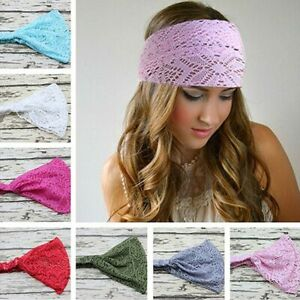 Wide lace headband elastic bandana turban hair band ladies summer sport.  04