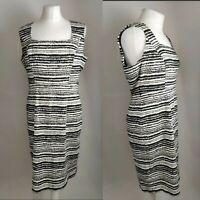 M&Co Women's Dress Black White Striped Shift Sleevless Square Neck Office UK 12