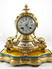 Antique 1855 French Vincenti gilt bronze & Sevres porcelain mantle clock on base