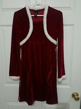 Holiday Editions Girls Size 14 / 16 Red Dress W/ Attached Vest Overlay