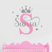 Custom Name Princess Crown Wall Sticker Decal Personalised Nursery Baby Bedroom