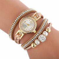 Women's Fashion PU Crystal Quartz Analog Watch Lady Bracelet Wrist Cuff Jewelry