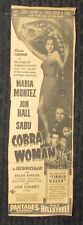 1944 COBRA WOMAN Movie Print Ad 4x12 VG 4.0 Maria Montez, Jon Hall, Sabu