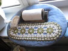Vintage Bobbin lace making pillow box with 19 bobbins