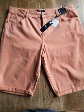 Damen Denim Baumwolle UK Größe 16 Roll Up Bermuda Shorts Koralle Bnwt