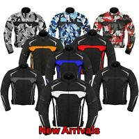 Mens Motorcycle Racing Coat Motorbike Cordura Textile Jacket Waterproof Armoured