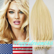 Loop Micro Ring Bead Tip Remy Human Hair Extensions 613 Light Blonde 16Inch 100S