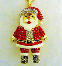 Santa Necklace AWESOME Big Animated Rhinestone Jolly SANTA CLAUS Retro Style